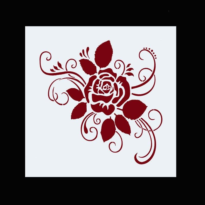 13 см роза цветок DIY слойные трафареты настенная живопись фотография шаблон