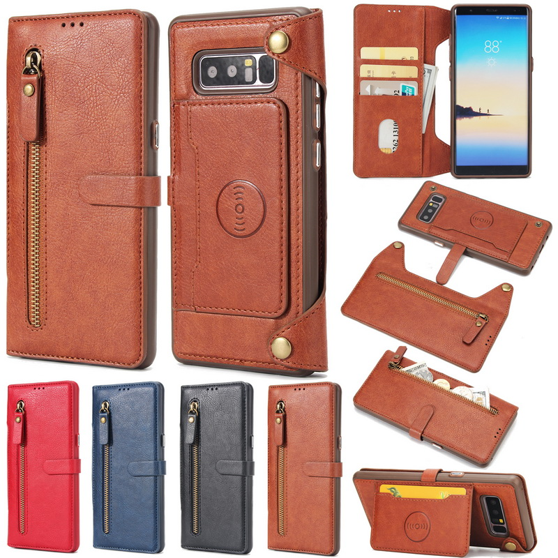 Multifunction Zipper Real Leather Wallet Magnetic Removable Case For Samsung Galaxy S7Edge S8Plus Note 8 Card Holder Flip Cover