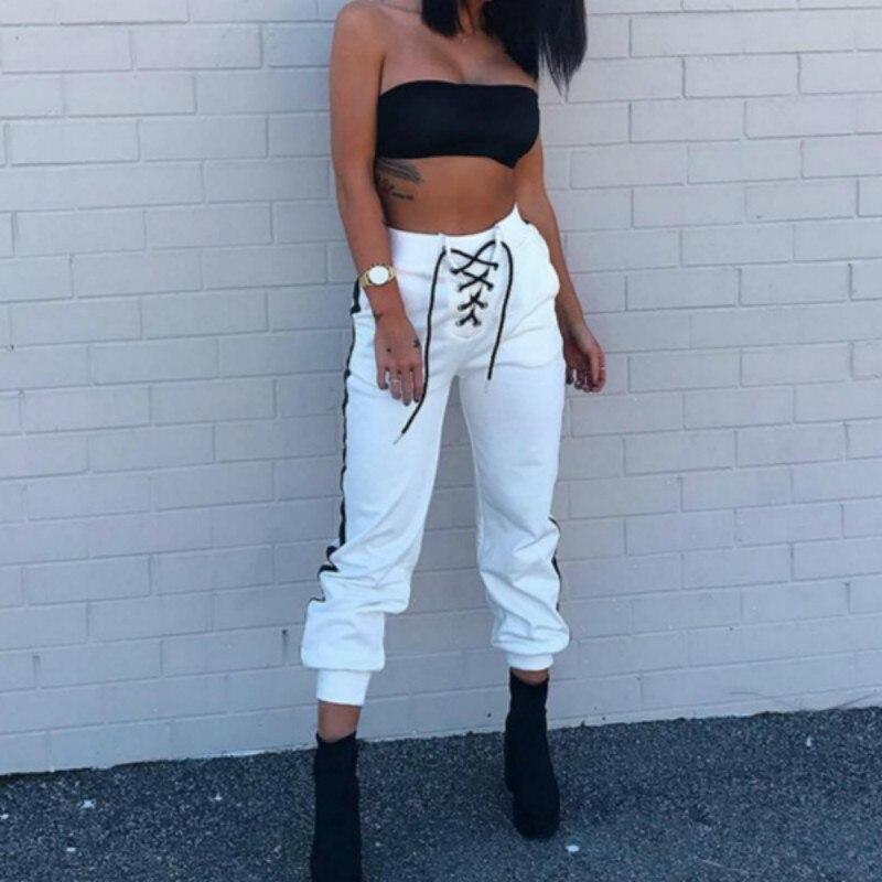 Women Harem Pants White Loose High Waist Pants Fashion Trousers 2018 Female Tie Striped Sweatpants Plus Size Pantalon Femme
