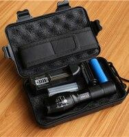 LED Flashlight Tactical 6000 Lumens CREE XM L2 Zoomable 5 Modes Black Aluminum Alloy LED Flashlights