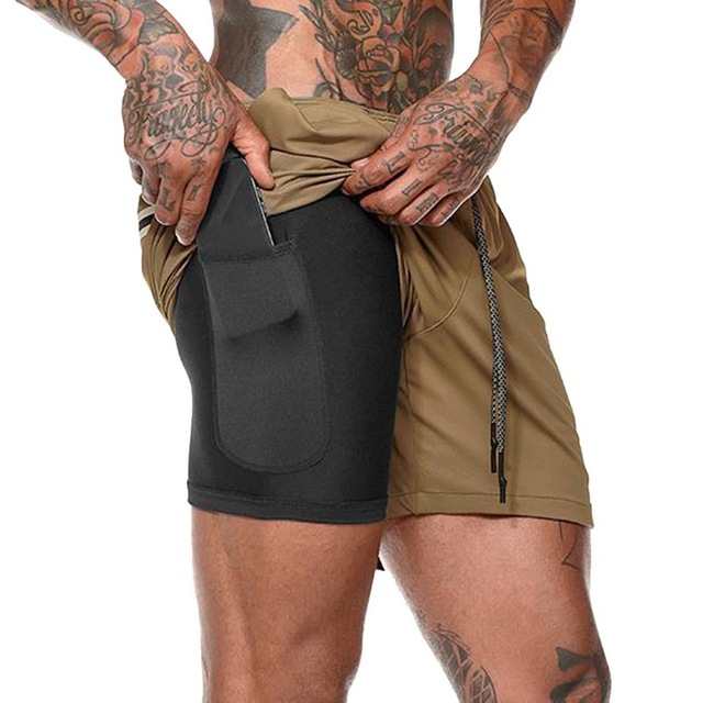 Mens Secure Pocket Shorts 2-Layers Workout Fitness elastic waist Short Quick-drying Breathable 2 in 1 Joggers shorts 2