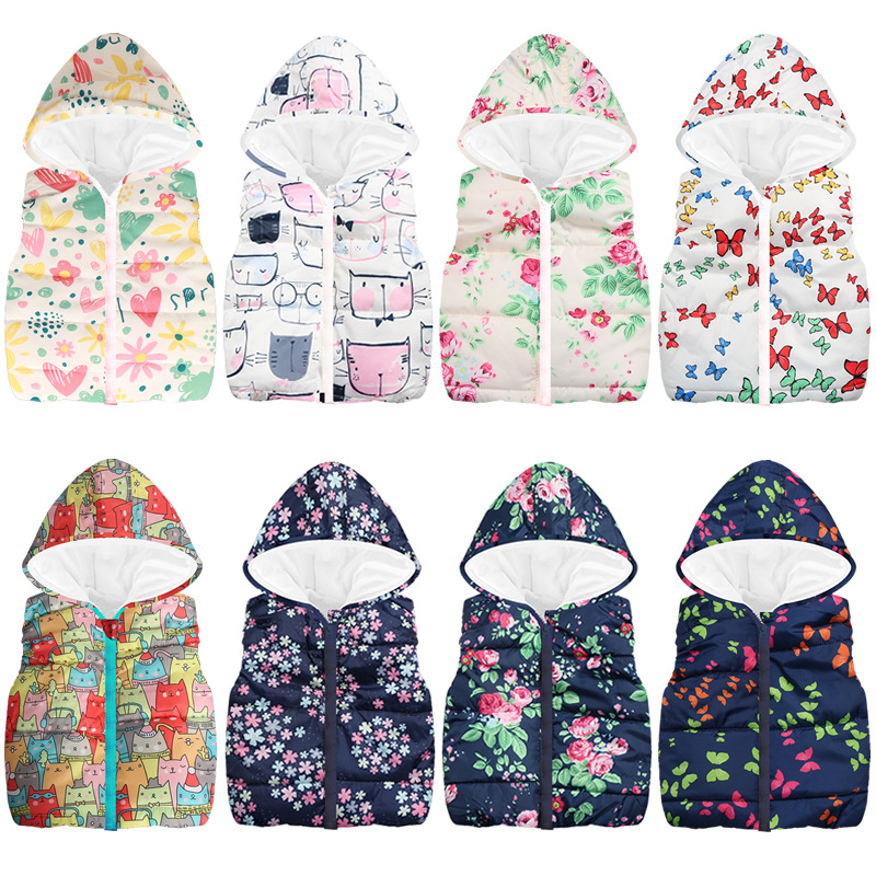JOMAKE Baby Waistcoats 2018 New Autumn Cartoon Floral Butterfly Printed Vests Thick Hooded Jackets For Girls Boys Kids Warm Coat