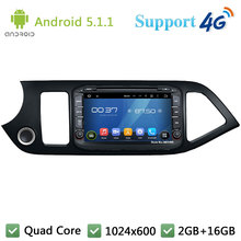 Quad Core 8″ 1024*600 Android 5.1.1 Car Multimedia DVD Player Radio BT FM DAB+ 3G/4G WIFI GPS Map For Kia Morning Picanto 2014
