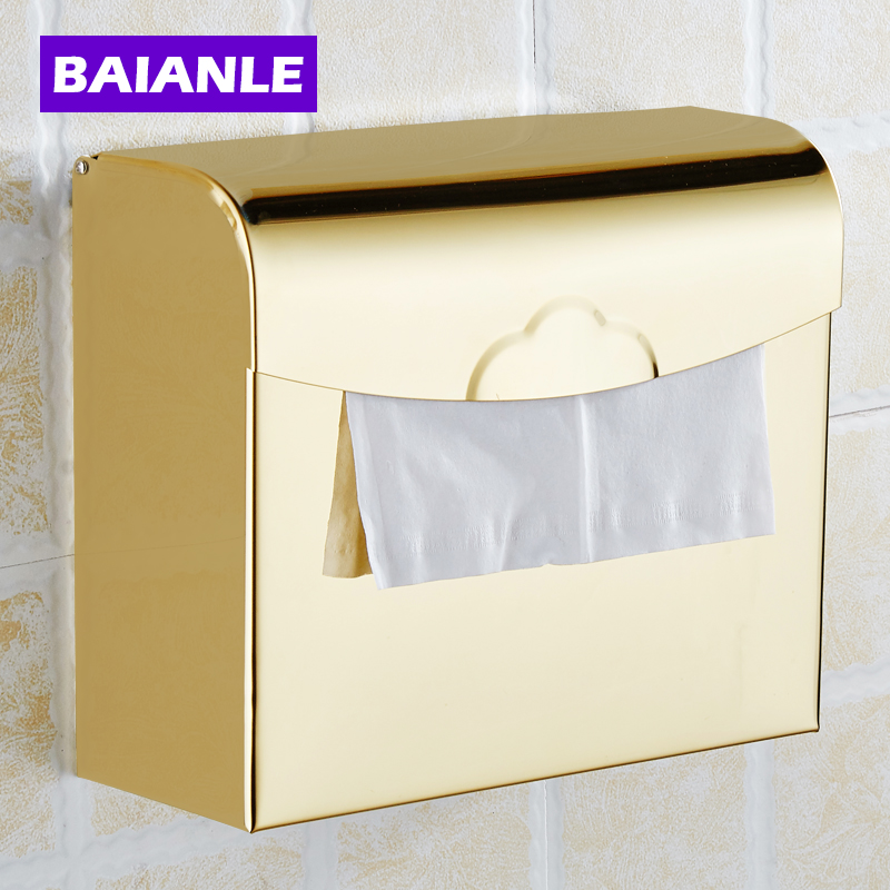 Free Shipping Multi-color Wall Mount Waterproof Toilet Paper Holder Stainless steel Bathroom Tissure Paper Box stainless steel wall mounted waterproof toilet roll paper holder of high capacity for toilet hotel and bathroom