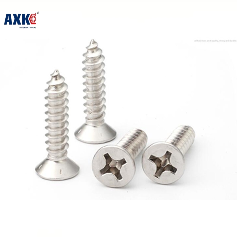 Axk 1000pcs M1*3/4/5/6 1mm Nickel Plated Phillips Flat Head Countersunk Head Self Tapping Screw 1000pcs m1 2 3 4 5 6 1 2mm nickel plated micro electronic screw cross recessed phillips round pan head self tapping screw