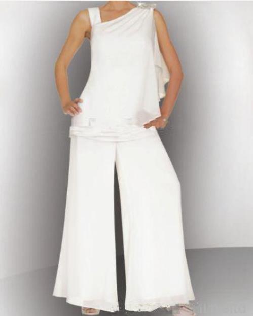 Two-piece 2016 Elegante vestido Branco de Um ombro Chiffon Frisado Lantejoulas Mãe da Noiva Terno Pant