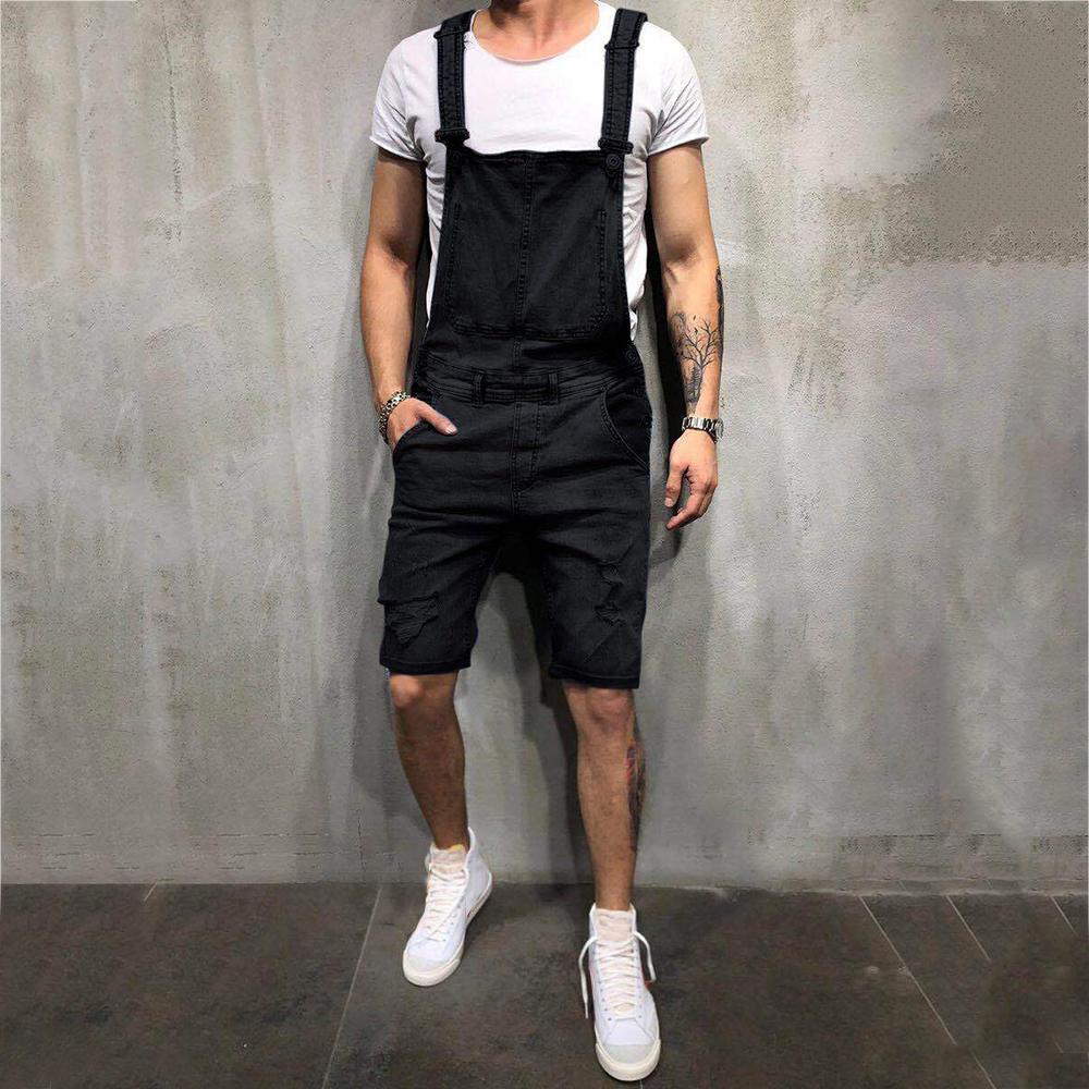 Casual Men Denim Overalls Rompers Jeans Knee Length Men Jeans Solid Hole Jeans Bib Pants Fashion Male Denim Shorts Clothing D40 in Jeans from Men 39 s Clothing