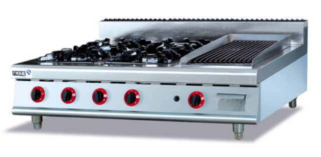 Stainless Steel Gas Range (4 Burners) And Lava Grill,Counter Top Commericial