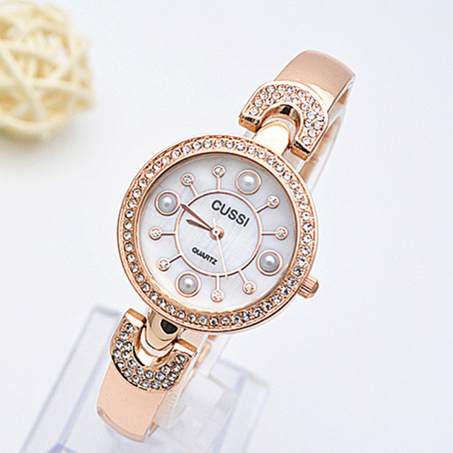 New CUSSI Luxury Diamond Women's Watches Rose Gold Bracelet Watch Women Watch Fa