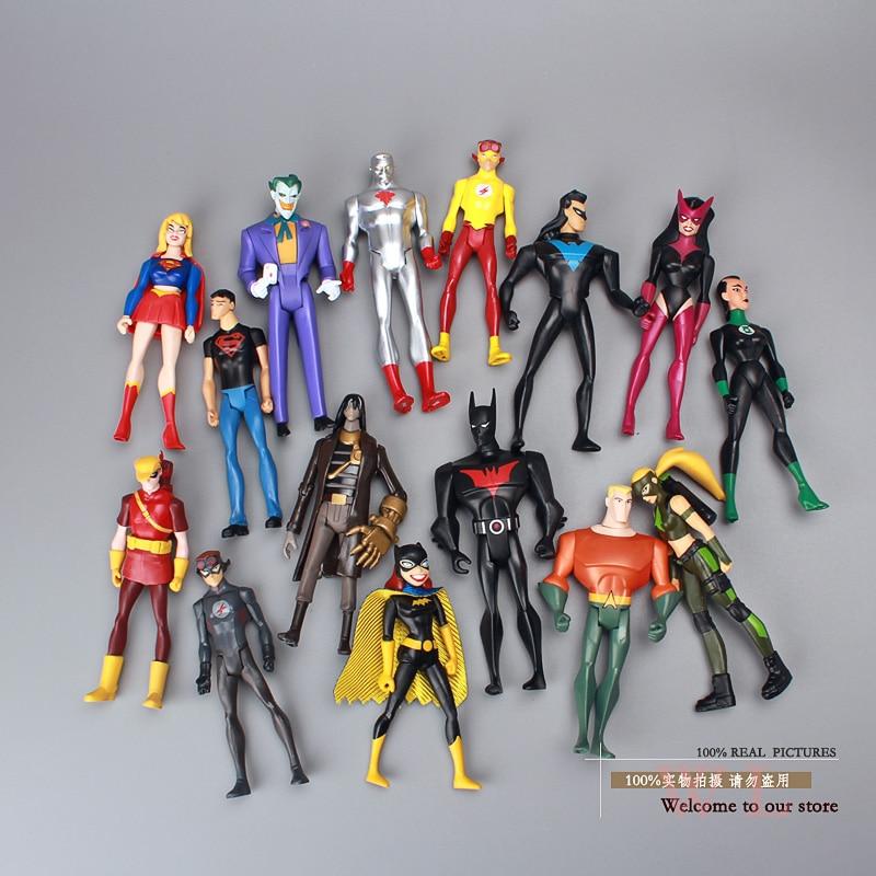 atom komiks dc - DC Comics Super Hero Superman Green Lantern The Flash The Atom PVC Action Figures Collection Model Toys 15pcs/set