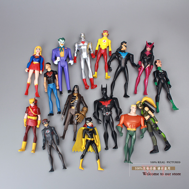 DC Comics Super Hero Superman Green Lantern The Flash The Atom PVC Action Figures Collection Model Toys 15pcs/set image
