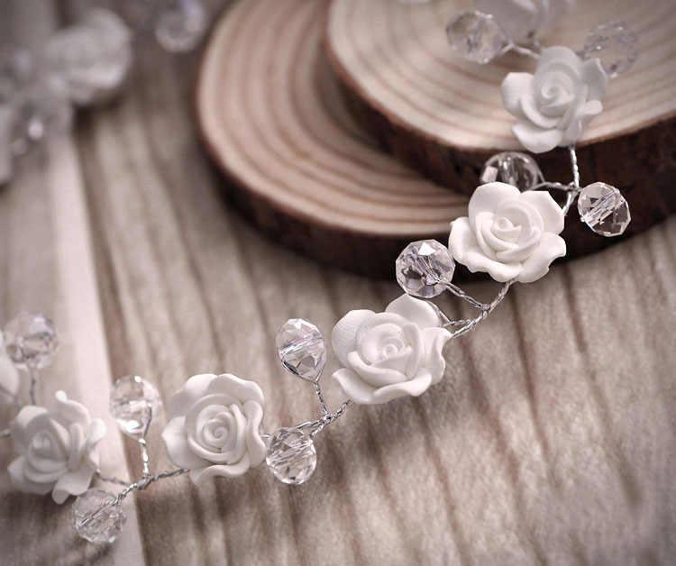 แฮนด์เมดเกาหลีเจ้าสาวT Iaraดอกไม้ประดับด้วยลูกปัดคริสตัลอุปกรณ์ผมหวานเจ้าหญิงแต่งงานหน้าผากเจ้าสาวอุปกรณ์เสริม