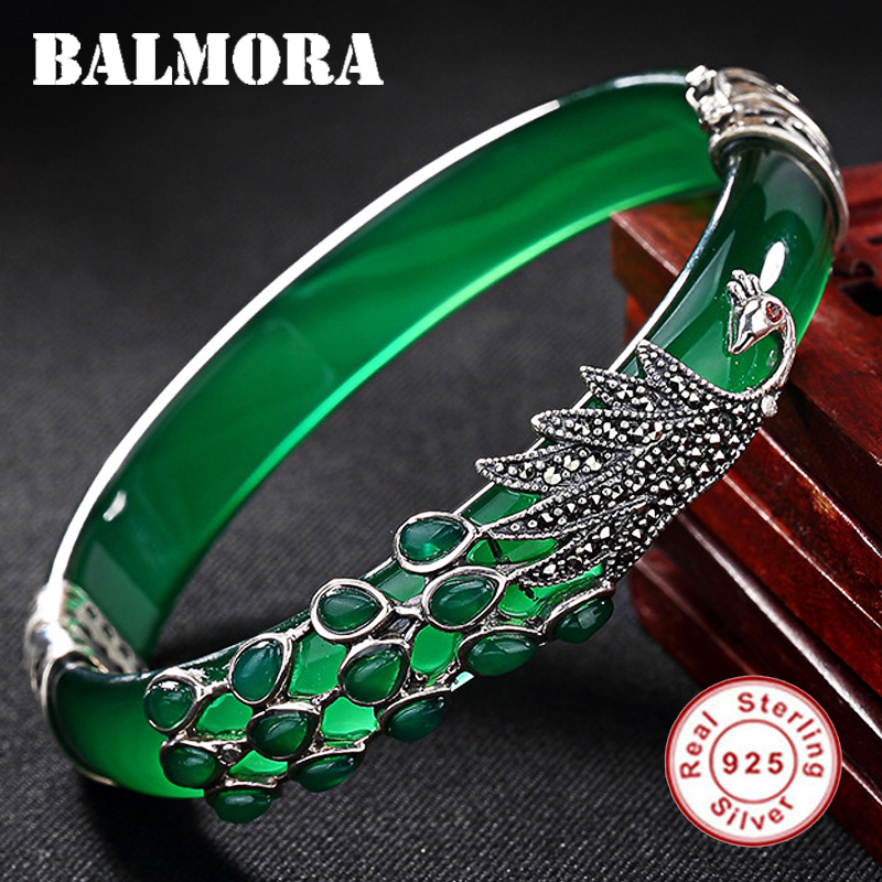 BALMORA Solid 925 Sterling Silver Chalcedony Peacock Animal Bracelet For Women Gift Thai Silver Fashion Vintage