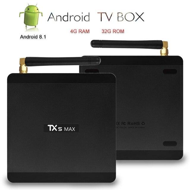 US $42 74 25% OFF|Aliexpress com : Buy Satxtrem TX5 MAX TV Box Android 8 1  Amlogic S905X2 4K Smart Box Set Top Box DDR4 4G 32G 2 4G/5 0G Dual WiFi BT