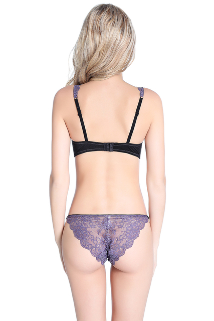 Pretty Mary Women Sexy See Though Lace Bra  Lingerie Lace-trim Push Up Bra and Panties Sets Long Line Unlined Demi Bra Underwear