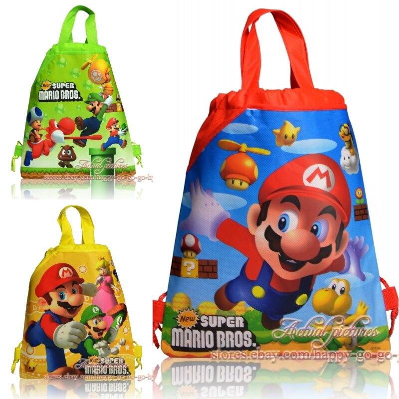 1 Pc New Super Mario Bros Zaino Della Scuola Per Il Ragazzo, Della Ragazza Spider-man Doppia Tasca Coulisse Sacchetto Di Regali Di Compleanno Bag Bambini Sacchetto Di Scuola