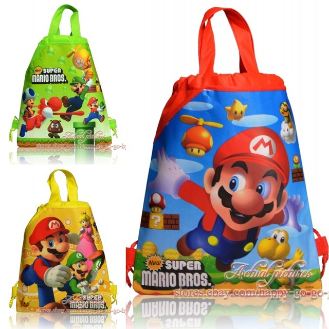 1pc New Super Mario Bros School Backpack for Boy,Girl Spider-man Double Pocket Drawstring Bag Birthday Gifts Bag Kids School Bag