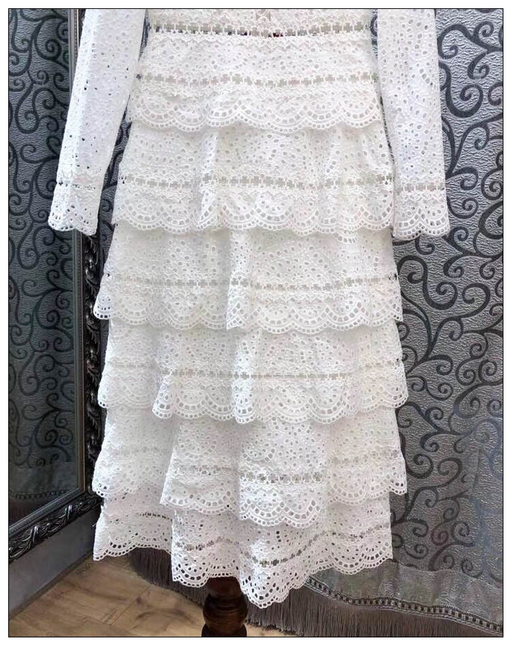 Top Quality Dress New 2018 Autumn Fashion Party Wedding Women Sexy V-Neck Hollow Out Embroidery Cascading Ruffle Long Dress Maxi 8