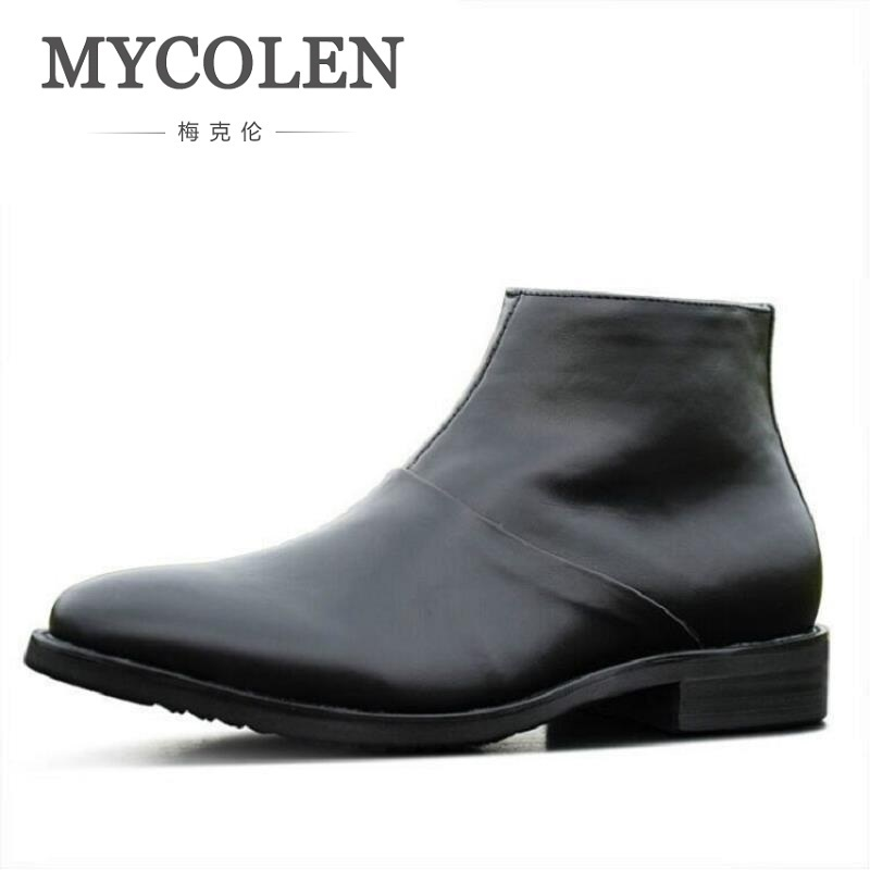 цена на MYCOLEN Men High Quality Cow Split Leather Ankle Boots Male Winter Leisure Fashion Party Retro Motorcycle Mens Shoes