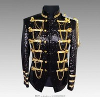 Steampunk Men's Polished Jackets Metal Decoration Coats Shining Color Costume Clothing