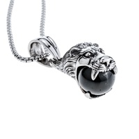 Yacq Dragon Lion Necklace Pendant W Chain Charm Stainless Steel 316L Jewelry Gifts For Men Him