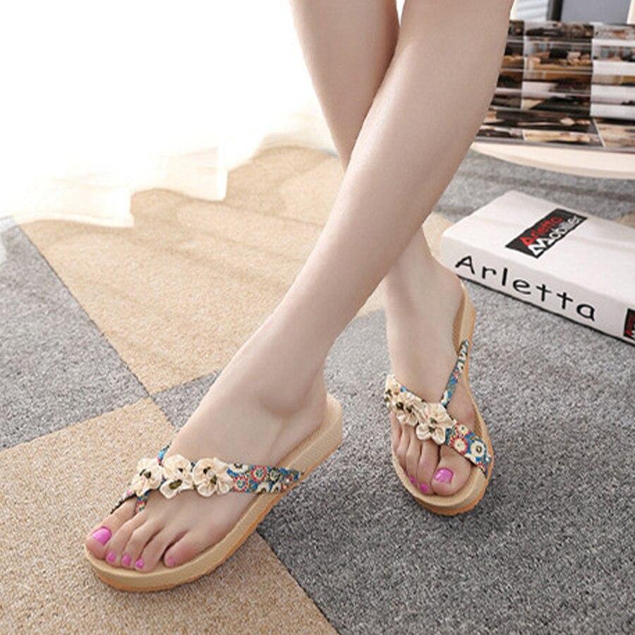 31f65baca Aliexpress.com : Buy Trend top new women summer flat bottom sandals female  Bohemia style no slip flower flip flop hot sale fashion women beach shoes  from ...