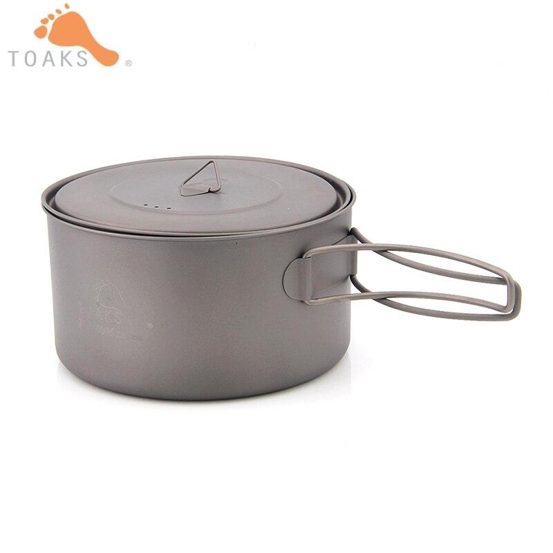 TOAKS 1350 ml Pot titane pur Camping ustensiles de cuisine ultra-léger Pot extérieur peut être utilisé comme une tasse et un bol 1350 ml 148g POT-1350