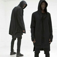 HOT Men S Causal Mid Long Hooded Cardigan Cloak Coats Solid Sweater Jackets
