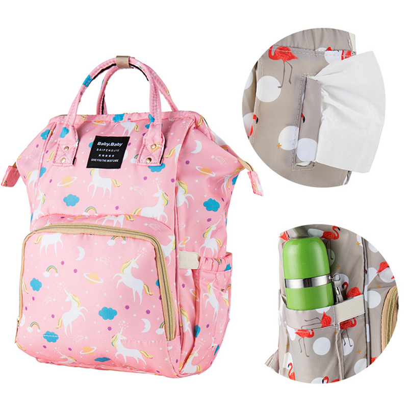Baby Diaper Bag Cartoon Unicorn Flamingo Mummy Baby Care Mom Nappy Bag Large Capacity Waterproof Business Backpack Travel Bag