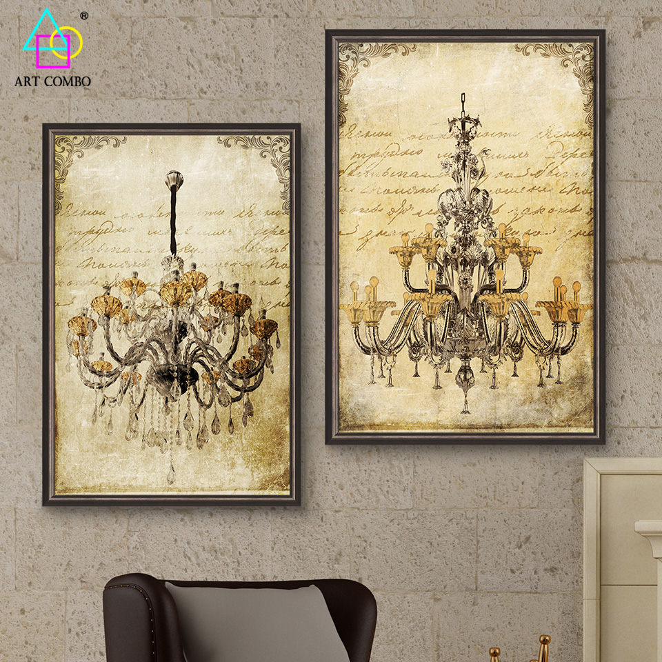 Unframed Canvas Painting Classical Extravagant European Ceiling Lamp ...