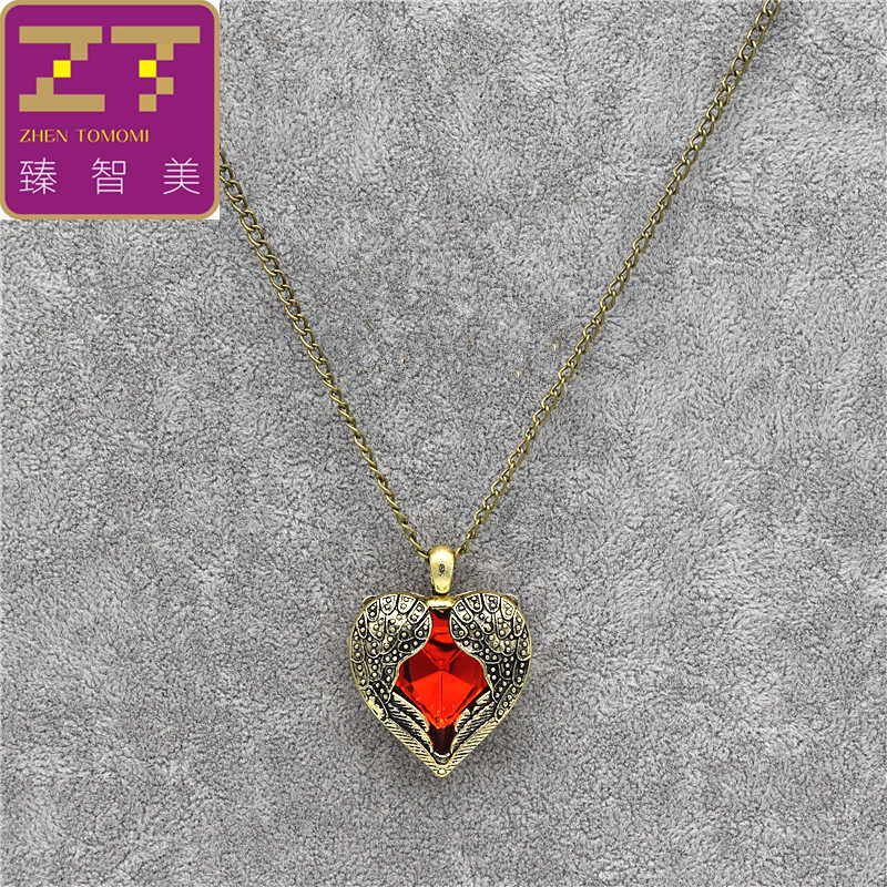 2019 Fashion Red Rhinestone Retro Wings Peach Heart Crystal Pendant Necklace/earrings For Women Jewelry Sets Bride Wedding Party