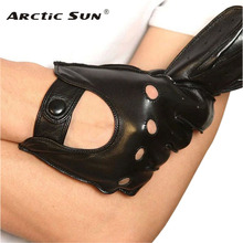 Adult Men Sheepskin Glove Breathable Wrist Real Genuine Leather Black Solid Fashion Driving Gloves Free Shipping M018w