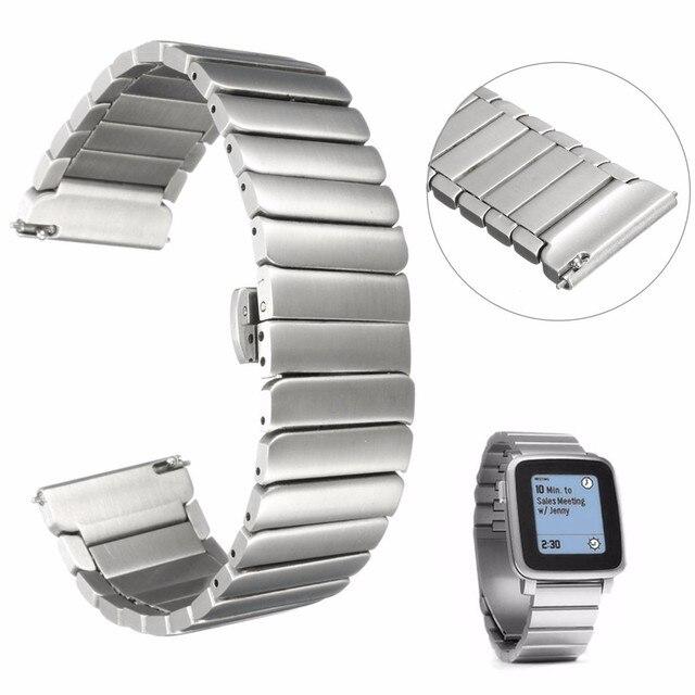 22mm 166mm Gloednieuwe Voor Pebble Tijd Staal Band Rvs Polshorloge Bands Horlogeband Wriststrap Armband Vlinder sluiting