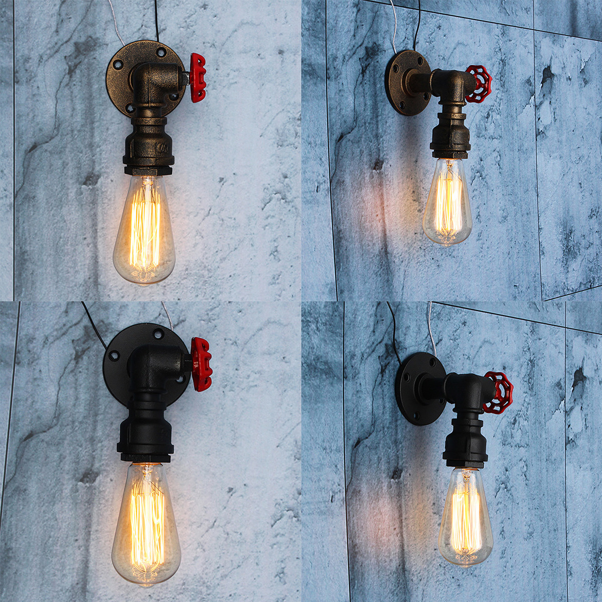 New E27 Vintage Water Pipe Wall Lamp Faucet Shape Steam Punk Loft Industrial Iron Rust Retro Home Bar Decor Lighting Fixtures