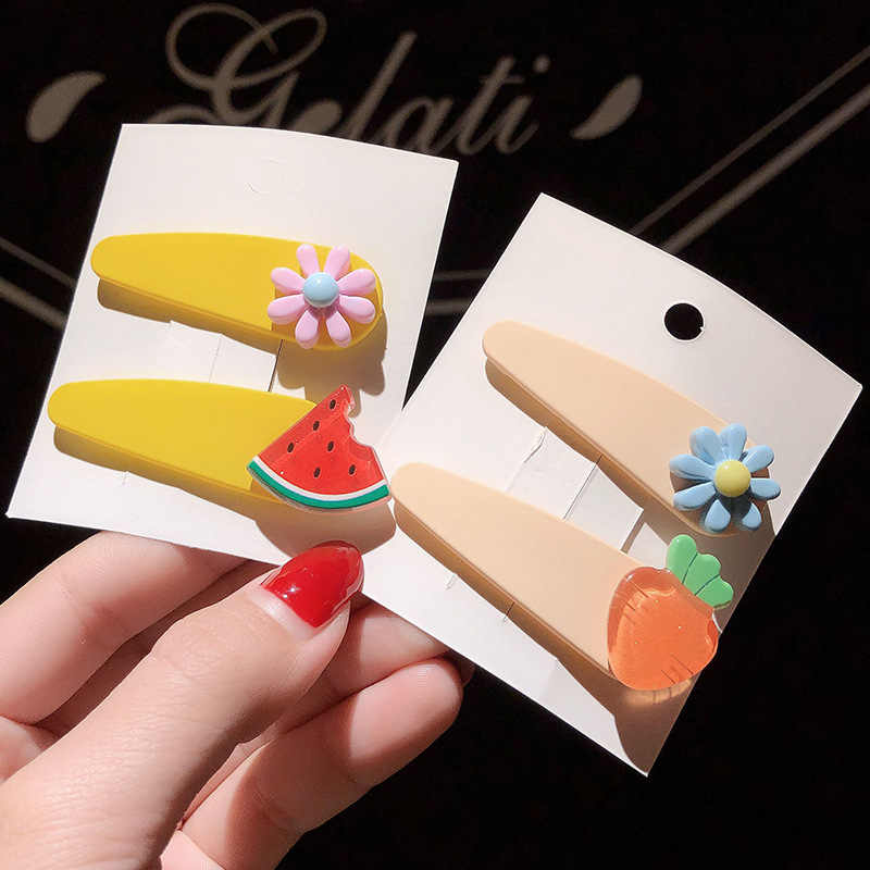 2 шт./упак. модная коллекция для девочек, милое платье с повязка с фруктами на голову набор BB клип в виде арбуза, принтом в виде бананов, ананасов, Карамельный цвет для волос в форме цветка зажим для Для женщин