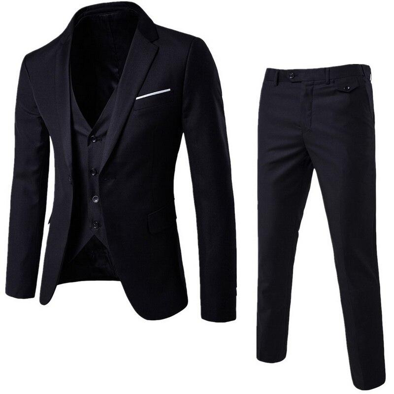 3 Pieces Business Blazer +Vest +Pants Suit Sets Men Autumn Fashion Solid Slim Wedding Set Vintage Classic Blazers Male Plus Size