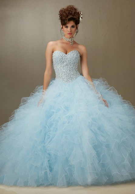 936c290cfc5 Elegant Light Sky Blue Ball Gown Quinceanera Dresses Full Beading Bodice  Ruffled Skirt