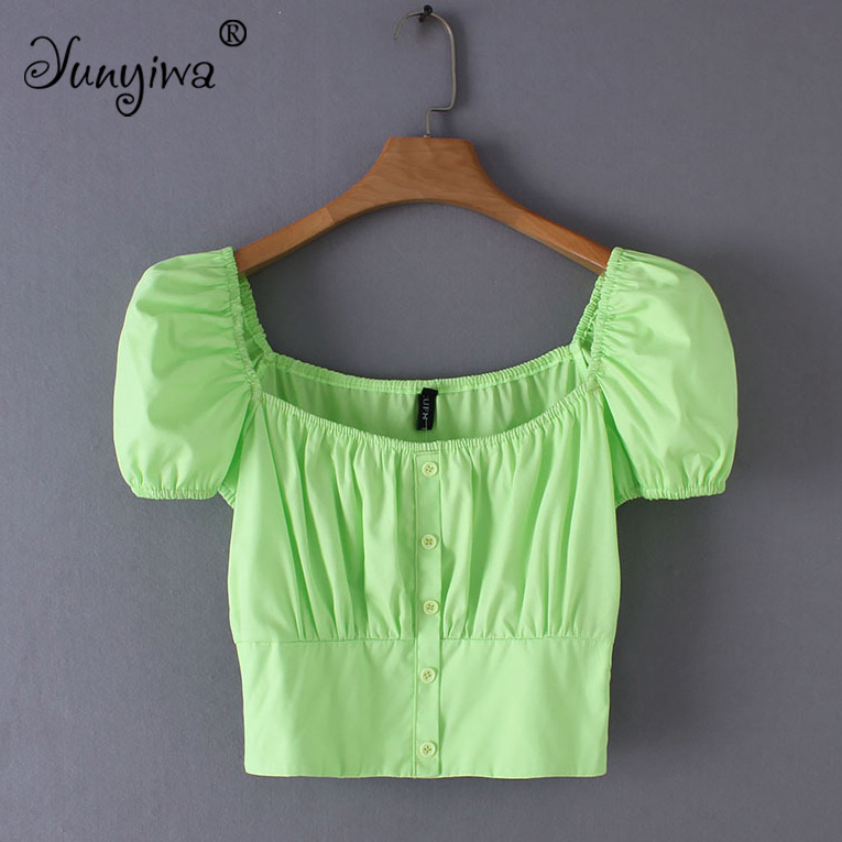 Yuuyiwa Women   Blouses     Shirts   Women's new wholesale fluorescent color short poplin   shirt     shirt   Tops Blusas Mujer De