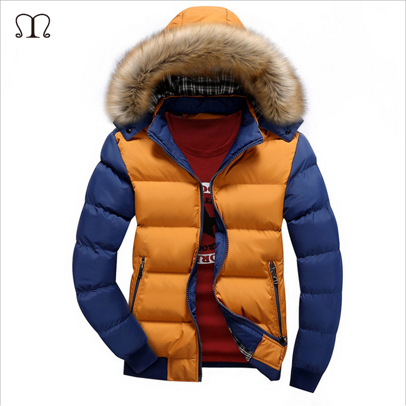 Winter Down Coat Men Casual Fur Hooded Cotton Padding Parka Mens Brand Windproof Waterproof Patchwork Windbreaker Jackets Male
