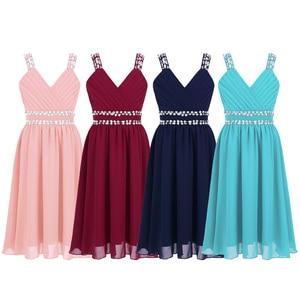 Image 2 - Iiniim Çocuk Kız Prenses Elbise Omuz Askıları Parlak Pul Rhinestones Şifon Elbise Yaz Düğün doğum günü partisi elbisesi