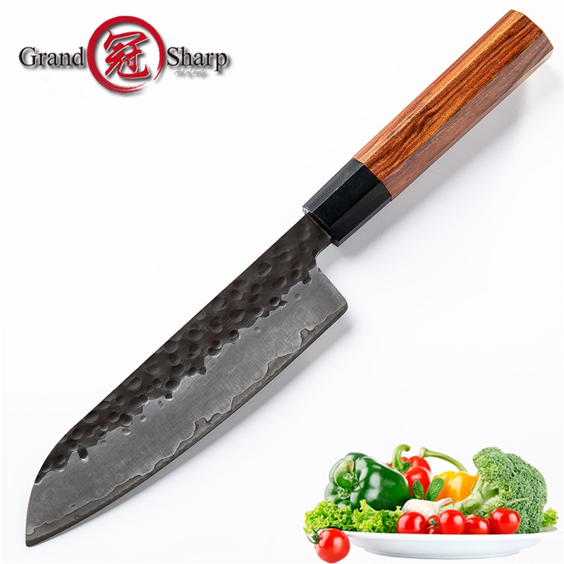 Couteau Santoku 7 pouces couteaux de cuisine faits à la main japonais 3 couches AUS10 outils de cuisine de Chef en acier à haute teneur en carbone boîte cadeau Grandsharp-in Couteaux de cuisine from Maison & Animalerie    1