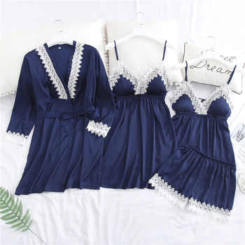 M-XL Flower Trim Lady 4 Pieces Sleep Set Spring New Nightwear Pajama Suit Rayon Cami+Shorts+Nighty+Robe Home Wear Sexy Pijamas - DISCOUNT ITEM  30% OFF All Category