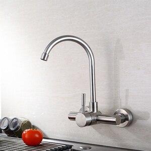 Image 5 - Смеситель для кухонной раковины из нержавеющей стали, настенный смеситель для раковины смеситель холодной и горячей воды с поворотом на 360 градусов