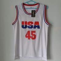 LIANZEXIN USA Donald Trump 45 Basketball Jersey 2017 Commemorative Edition White Color Throwback Basketball Jerseys On