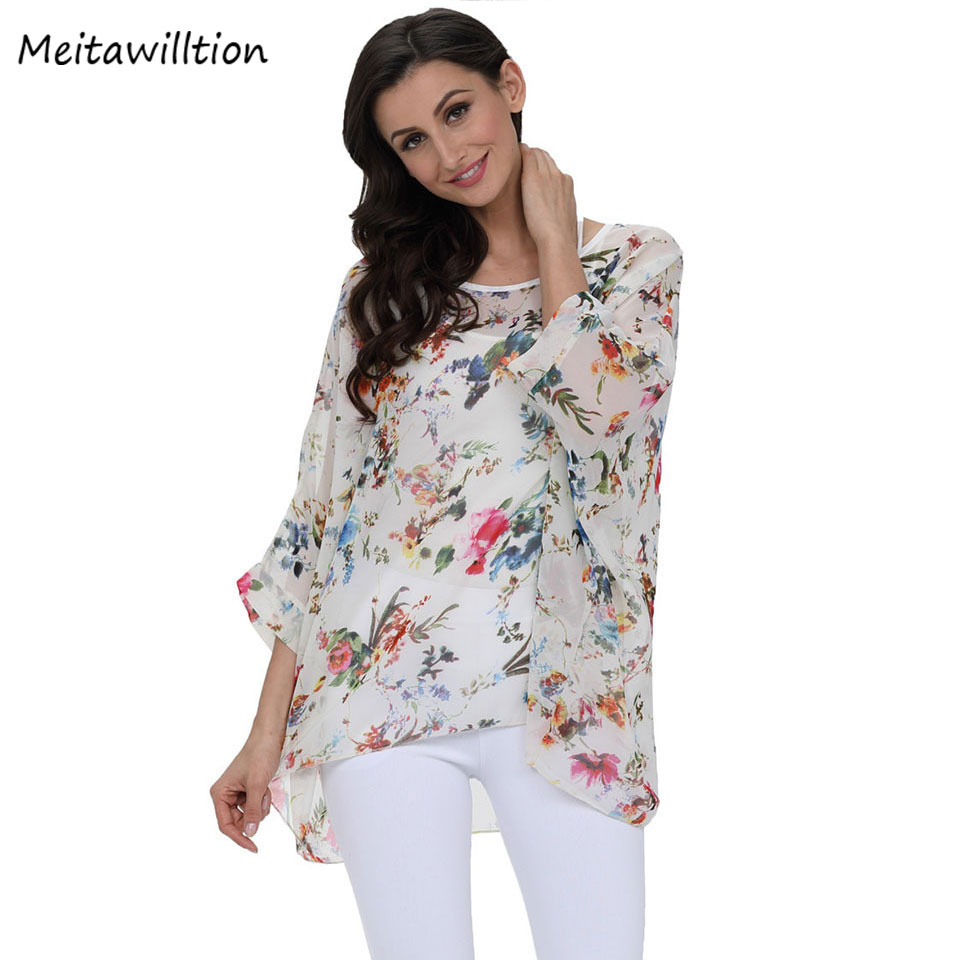Dynamic Meitawilltion 2018 New Beach Cover Up Floral Romantic Swimwear Ladies Pareo Beach Cap Sunscreen Wear Ladies Chiffon Blouse Shirt To Produce An Effect Toward Clear Vision Women's Clothing