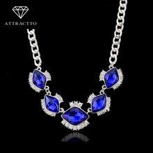Женское Ожерелье с голубыми/белыми камнями attrattto винтажная