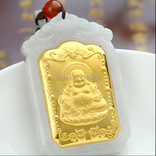 Buy 24k gold buddha pendant and get free shipping on aliexpress high quality natural white hetian and 24k yellow gold buddha pendantchina aloadofball Images