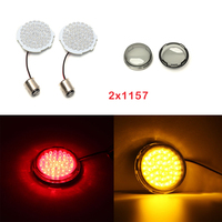 2018 New 2pcs 2 2 Front 1157 Bullet Style Turn Signal LED Smoke Lens Fits For