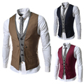 2015 Spring Fashion New Basic Casual Suit Vest Men,Brand Quality Tank Tops,Faux Two Piece Waistcoat,FreeDrop Ship Plus SizeM-XXL