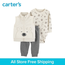 3pcs camping print bodysuit front bear pocket fleece vest set Carter's baby boy spring autumn clothing 121I952